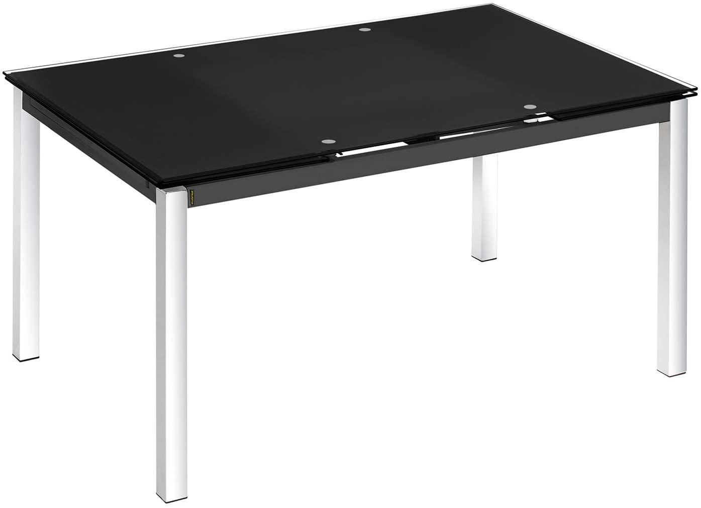 Mesa extensible cristal color negro y pata cromada comedor salon 140/200x90x75