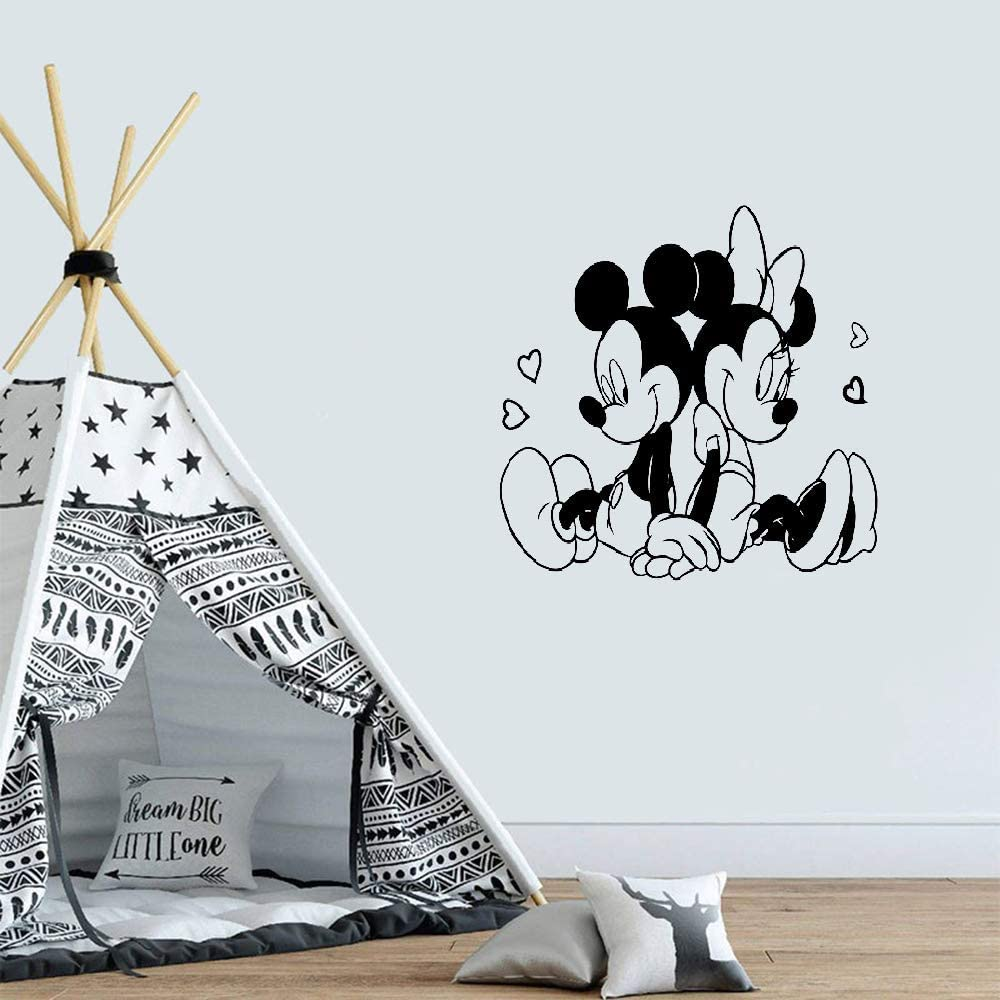 Mickey Mouse Minnie Mouse Adhesivos de pared Pegatinas grandes y adorables Mickey Minnie Mouse Adhesivos de pared Decoración para bebés Niños Niñas Habitación Patrón lindo Mural
