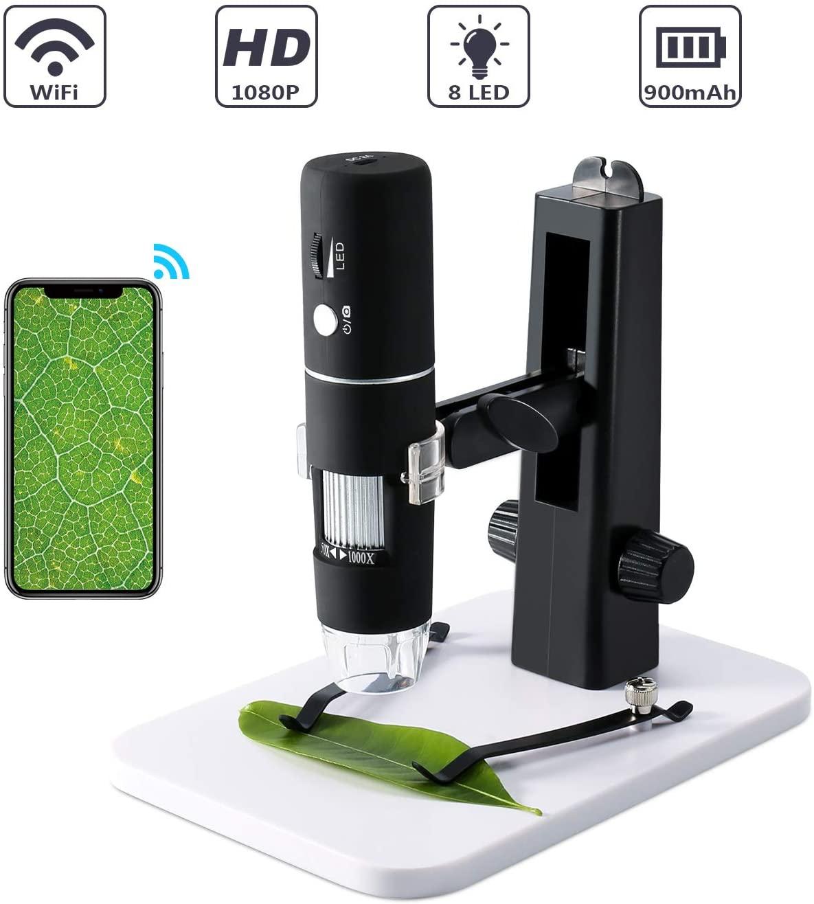 Microscopio Digital, ROTEK WiFi Microscopio USB 1000x 1080P HD para Niños con Soporte de Elevación Profesional, Mini Microscopio Endoscopio Camara con 8 LED para iPhone iOS Android iPad Windows, Mac