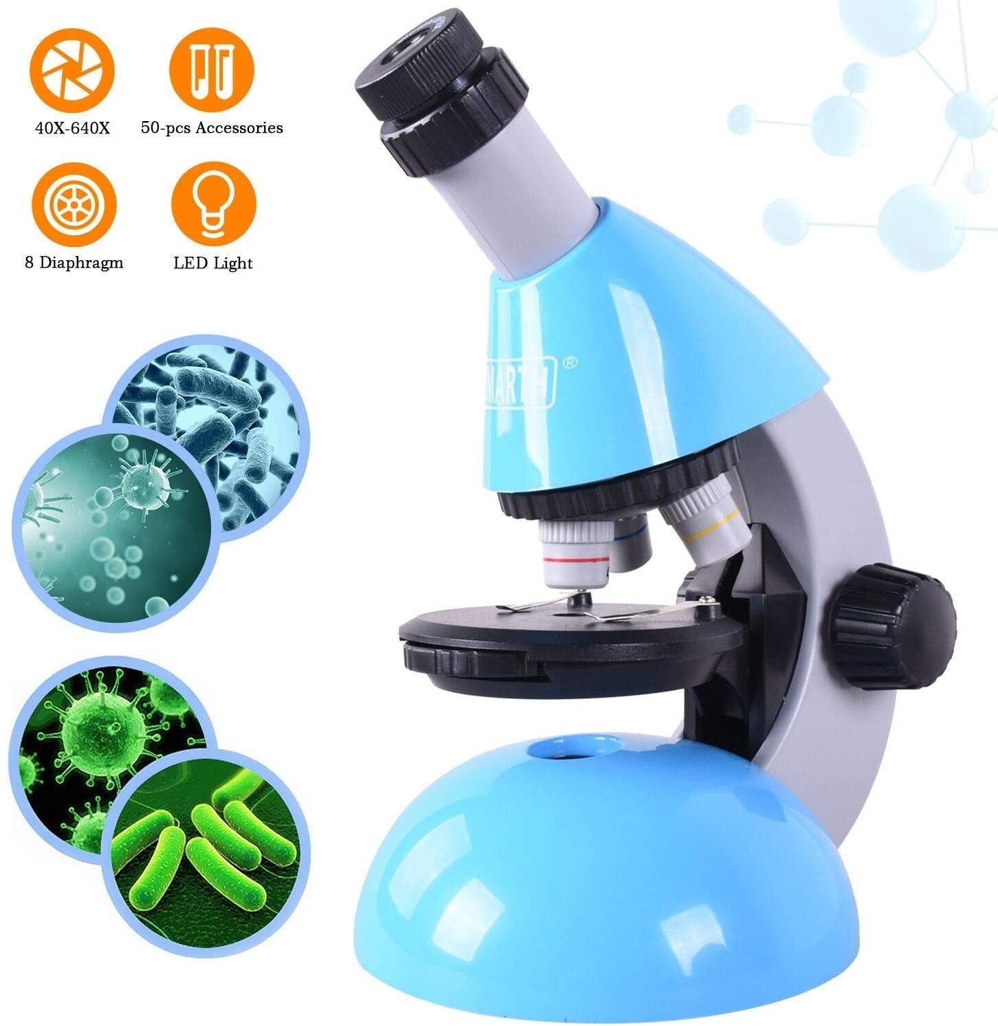 Microscopio para niños, ampliación 40X - 640X con 50 Kits de Ciencia El microscopio para Principiantes Incluye 25 Controles deslizantes para Estudiantes de 5 años en adelante