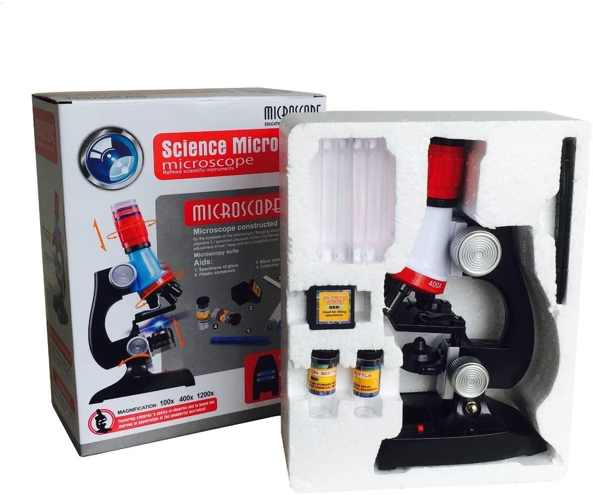 Microscopios Infantiles, Microscopios Juguete 1200x 400x 100x, Microscopio de plástico, Pequeños Microscopio de la Ciencia para Estudiantes Niños 3 4 5 6 7 8