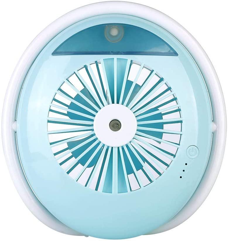 Mini ventilador de escritorio portátil de la nebulización, ventilador del humidificador de la niebla del fresco personal USB recargable mini enfriamiento o fan hidratante para el hogar y el viaje,Blue