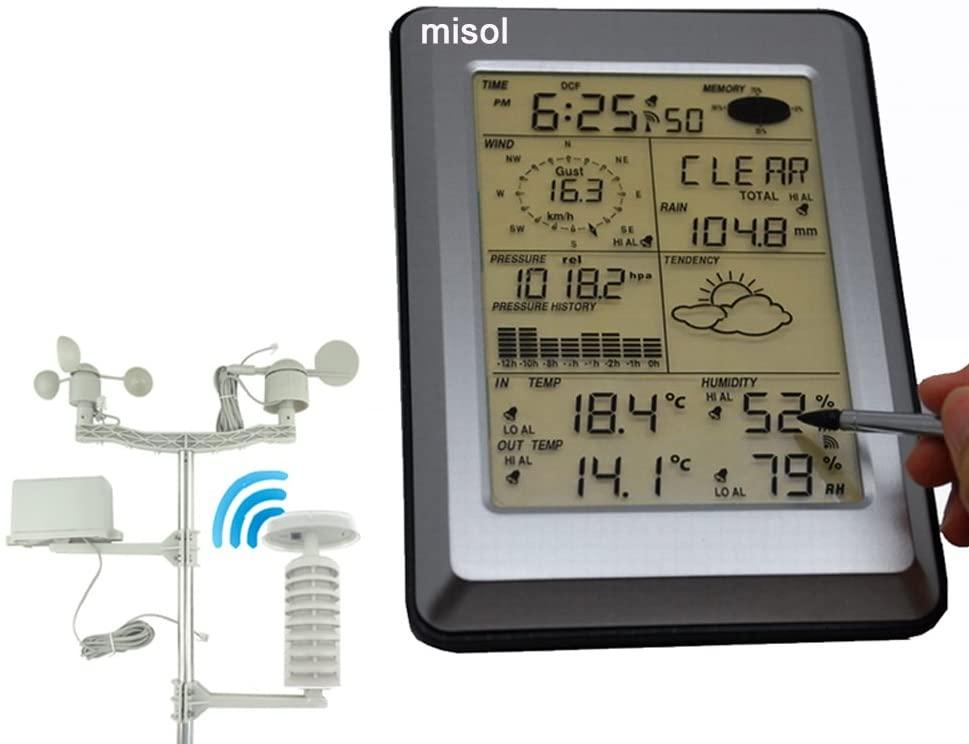 MISOL Professional Wireless Weather Station Touch Panel w/Solar Sensor, w/PC Interface/Panel táctil Estación Meteorológica Profesional w/Sensor Solar, w/Interfaz de PC