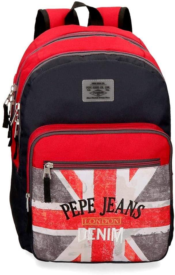 Mochila 46cm Pepe Jeans Calvin doble cremallera, Multicolor