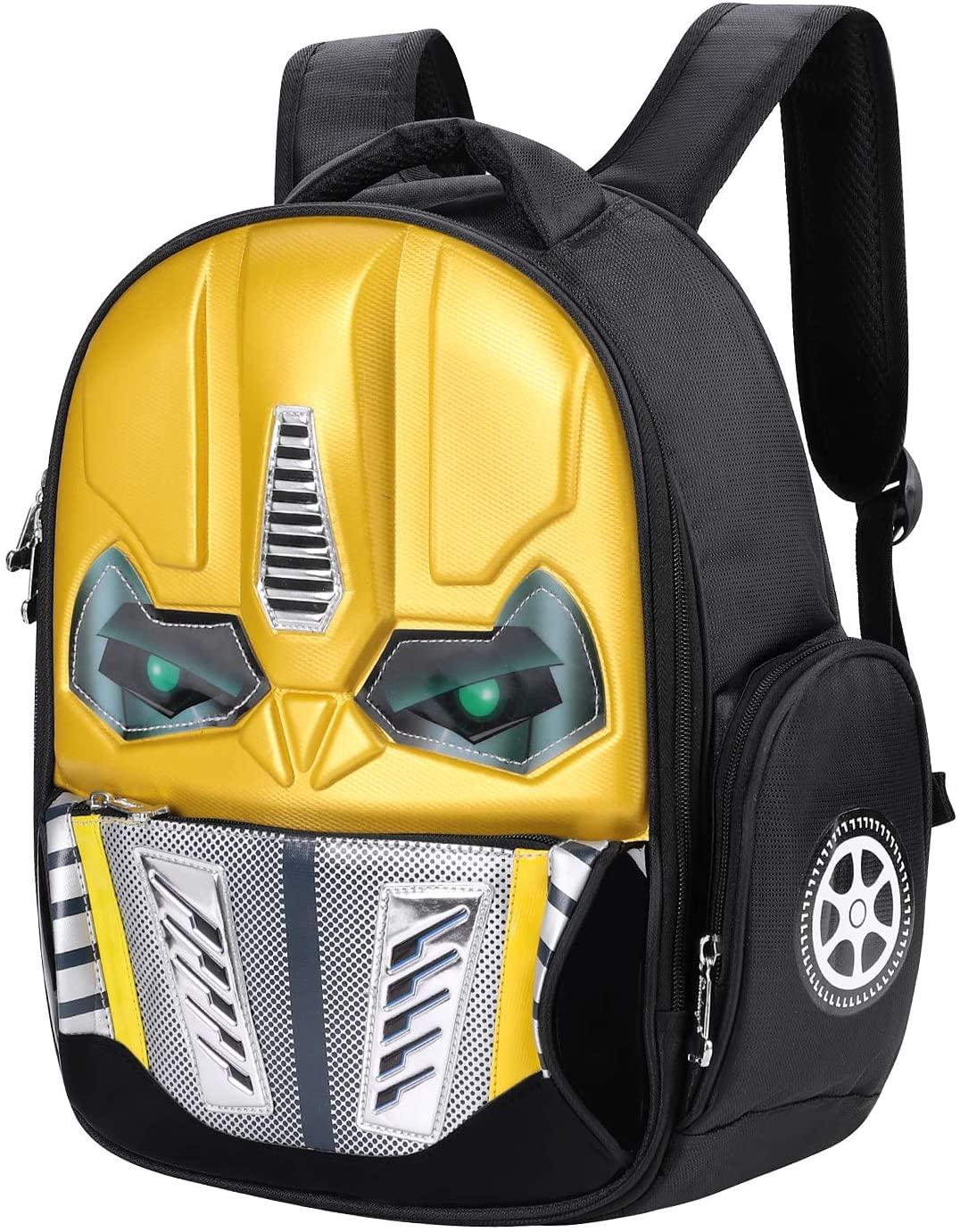 Mochila para el Robot de niños, Mochila 3D para niños, Brillante, Mochila Escolar, Primaria, Colegio, Viaje, pícnic, Backpack 5-10 años, Amarillo (Amarillo) - SHU-BAO-000018-IB-FR