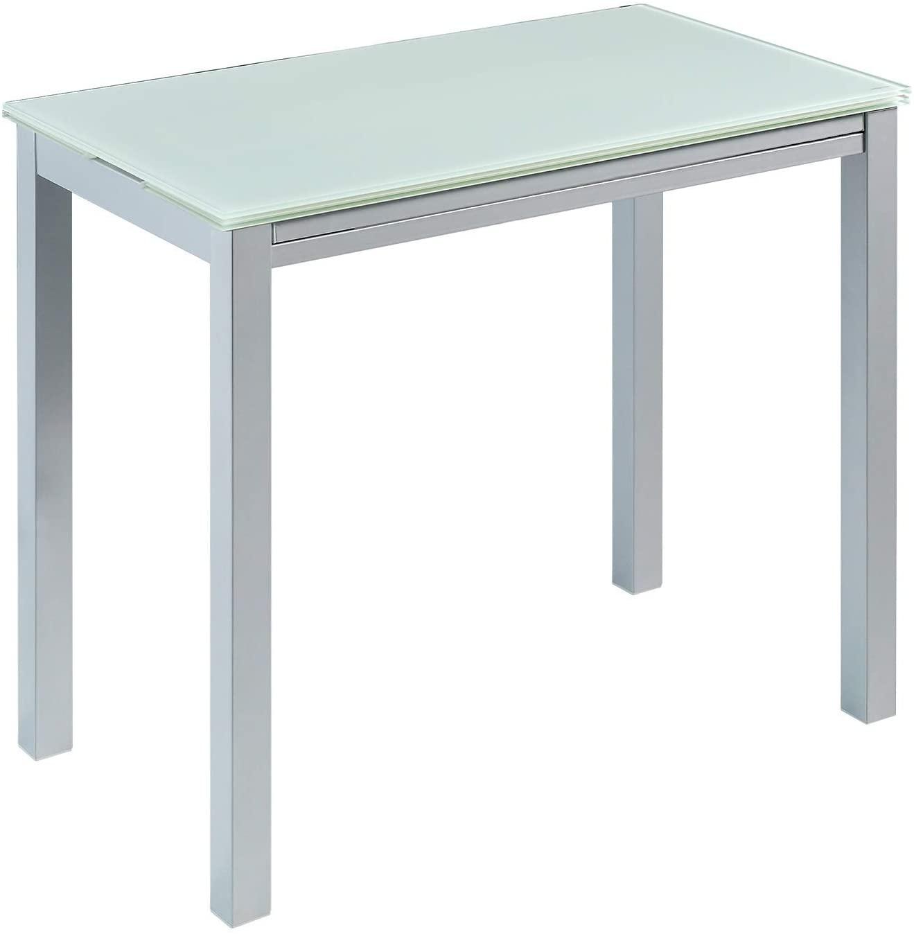 MOMMA HOME Mesa de Cocina Extensible - Modelo Londres - Color Blanco/Plata - Material Cristal Templado/Metal - Medidas 95 x 55/95 x 76 cm
