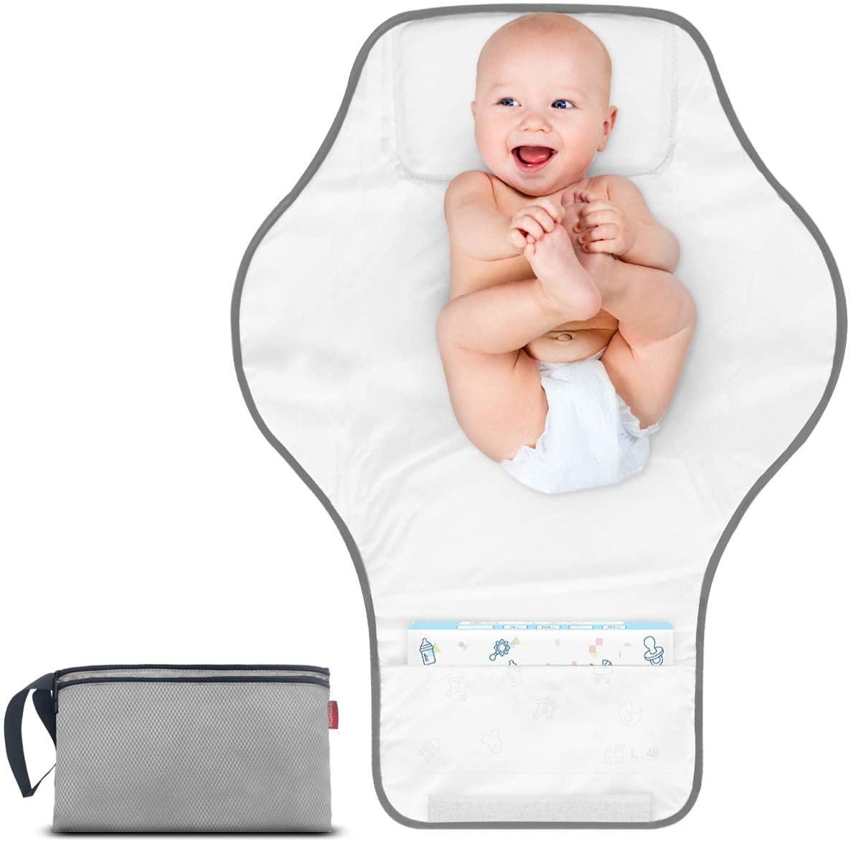 Morrols Cambiador portátil, cambiador de pañales impermeable bebé,Ligero y duradero Cambiador de viaje con bolsillos organizadores y cómoda almohada Para el Hogar Viaje.