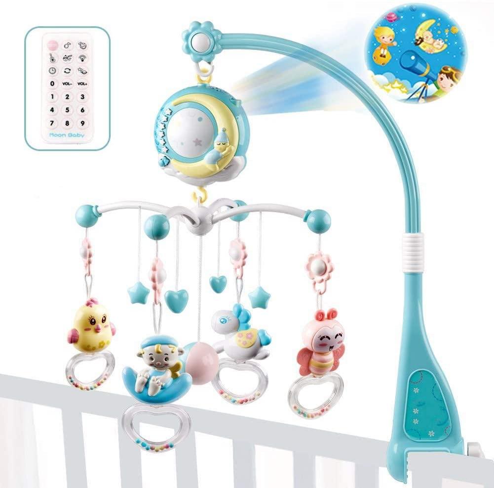 Móvil Musical para Cuna de Bebé con Mando a Distancia Luz de Estrellas Campanilla Decoración Sonajero para Cama Juguete Proyector de Cuna para Bebés Recién Nacidos