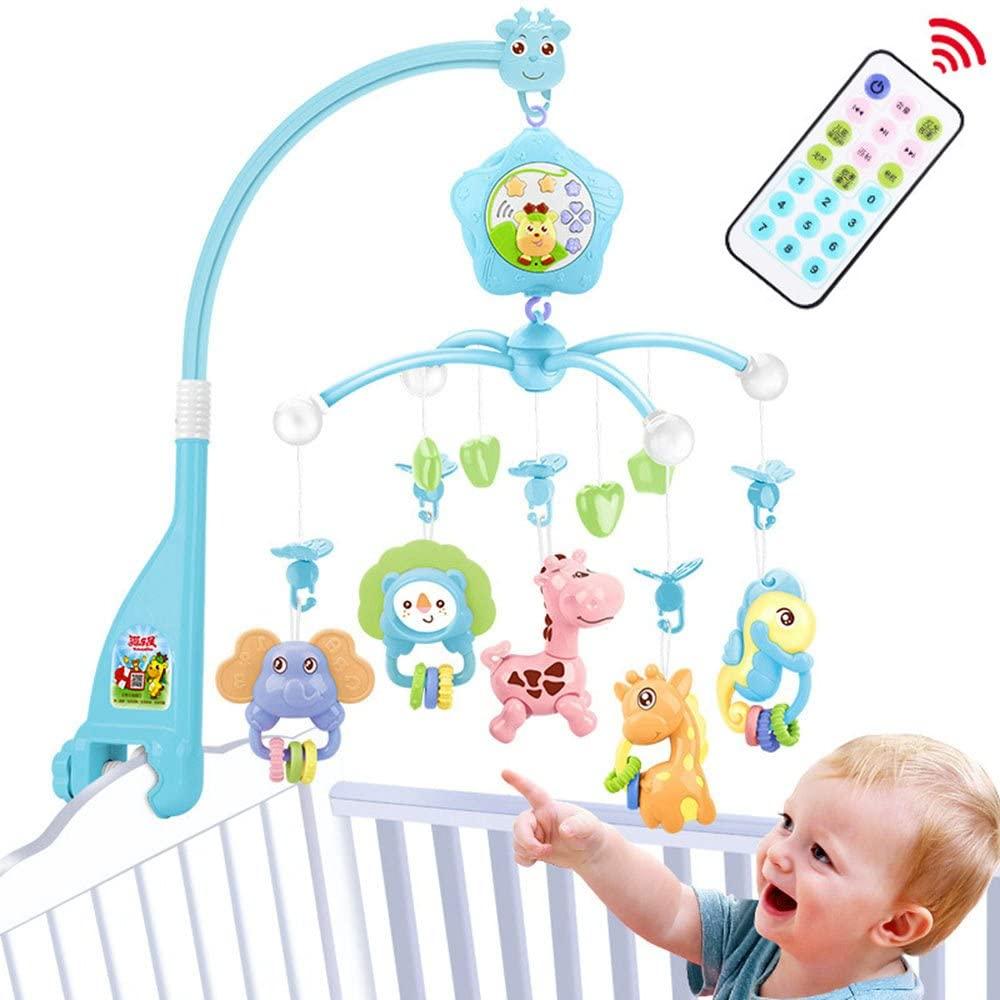 Móviles de bebé para cuna, cuna móvil con luces y música, mando a distancia y juguete para empacar y jugar rosa (BLUE)