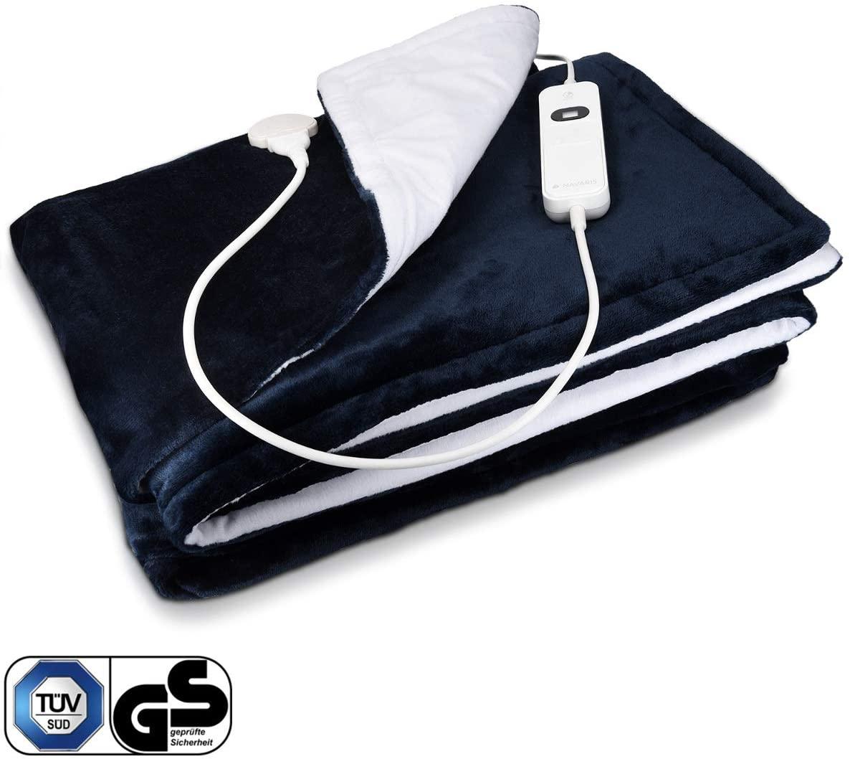 Navaris Manta eléctrica XXL con termostato - Colcha de 180 x 130 CM - Manta térmica lavable - Con regulador de temperatura 3 niveles - Blanca y azul