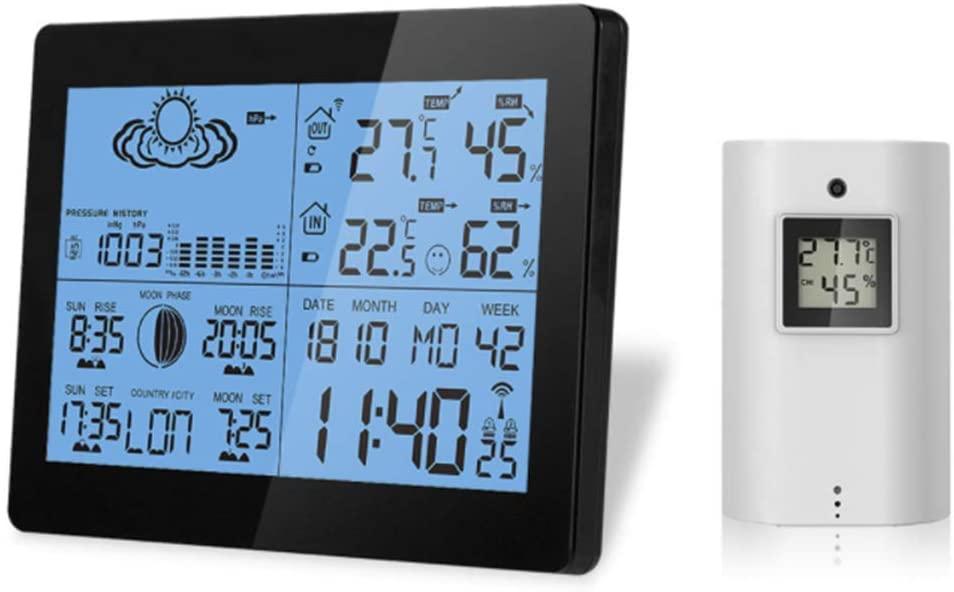 NBSXR Estaciones meteorológicas Inalámbricas de Interior y Exterior, con Alerta y Temperatura/Humedad/barométrica/pronóstico/Reloj Despertador, estación meteorológica Digital LCD