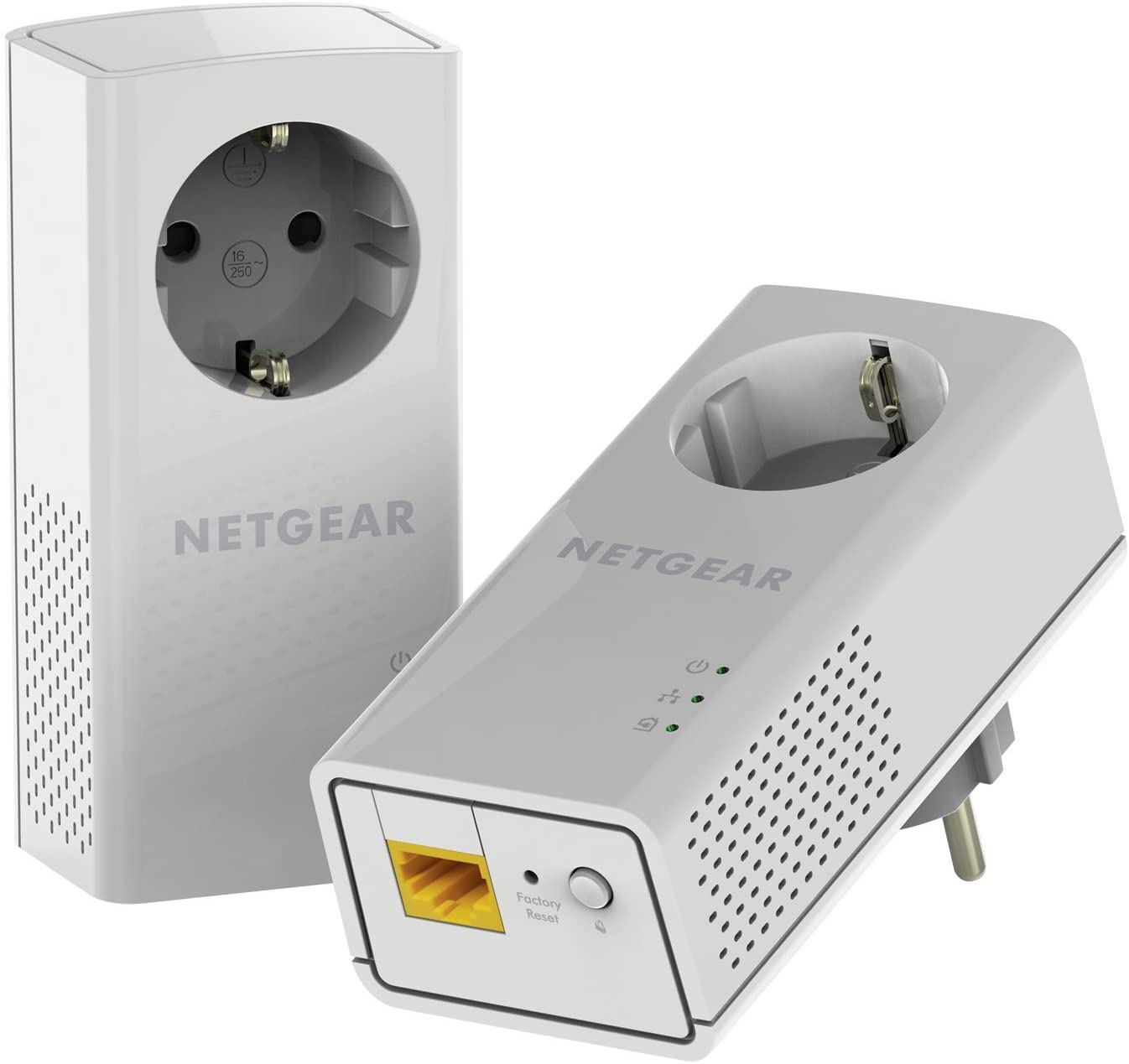 Netgear PLP1200-100PES - Kit de adaptadores Powerline (1200 Mbps, 1 Puerto Ethernet Gigabit, Toma de Enchufe integrada), Blanco