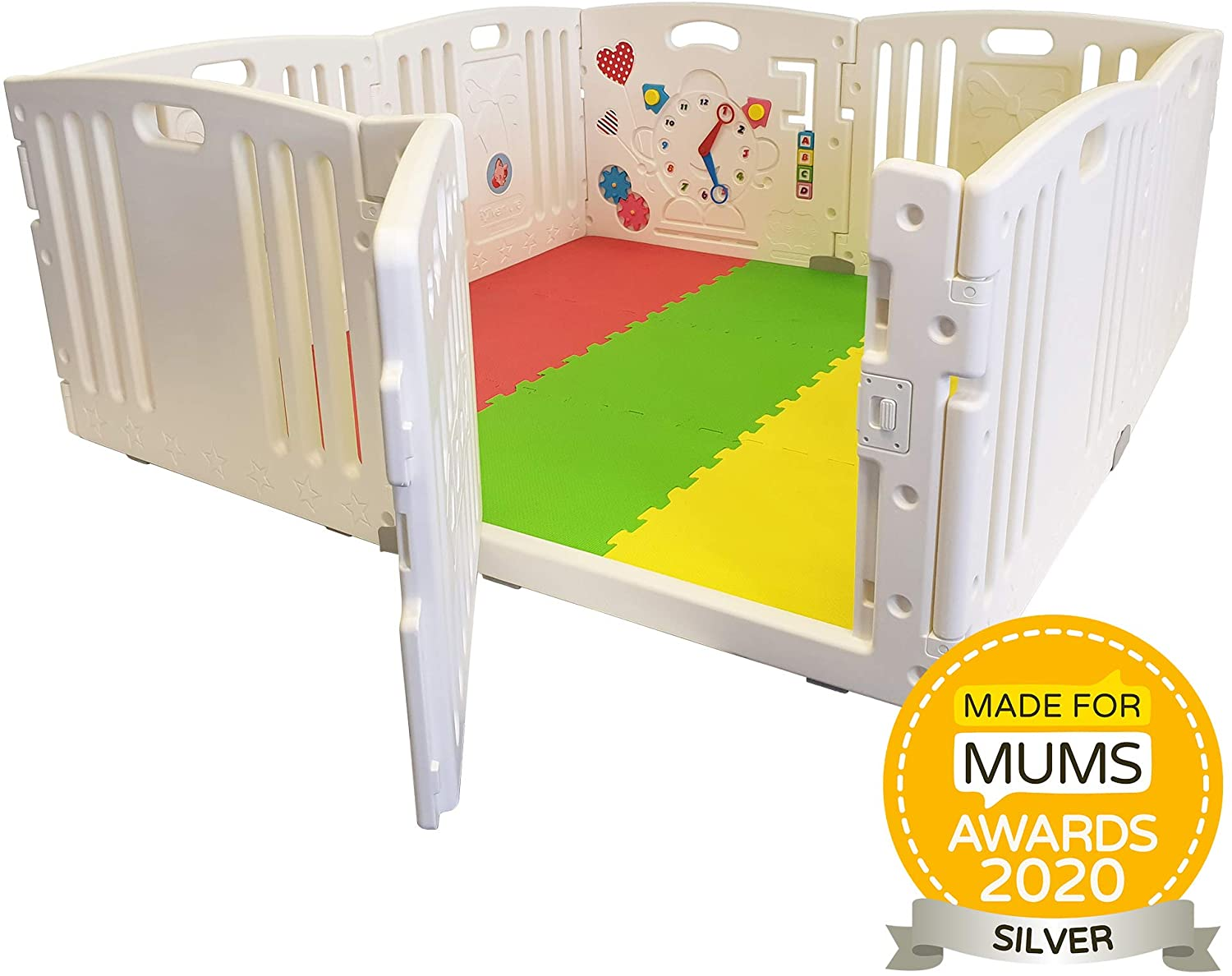 NEW Venture ALL STARS Baby Playpen | 8 Pcs Including Fun Activity Panel | Fitted Floor Mats And Bright Coloured Play Balls | Strong And Duable - Made From High Quality Non-Toxic Materials