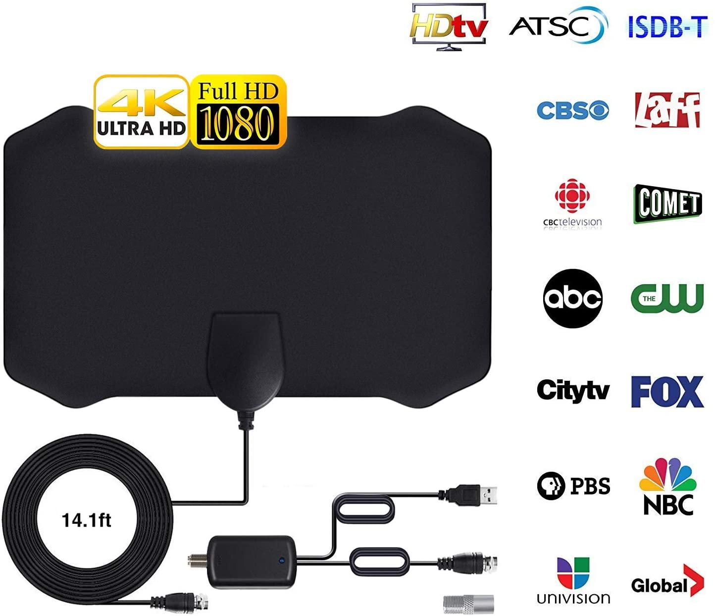 [Newest 2020] Antena de TV, Antena Interior HDTV con Amplificador Portatil, Rango de 96-200 KM, Soporte 4K 1080p y Todos los televisores de Interior TV de Antena