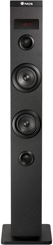 NGS SKYCHARM - Altavoz Torre de Sonido con Bluetooth y Mando a Distancia (50W, USB, Radio FM, AUX). Color Negro