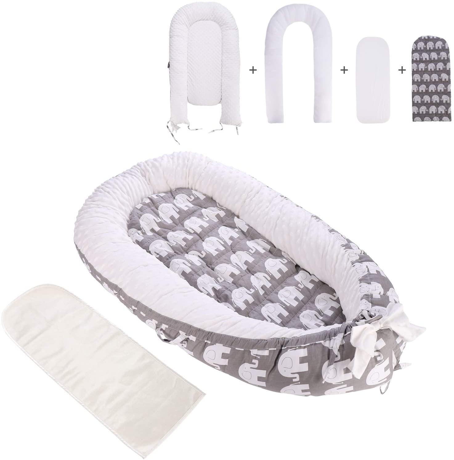 Nido para Bebés Recien Nacido Cama para Cuna biónica hipoalergénica de espuma de algodón suave y transpirable para recién nacidos de lujo con 2 colchones reemplazables (Gris/elefante)