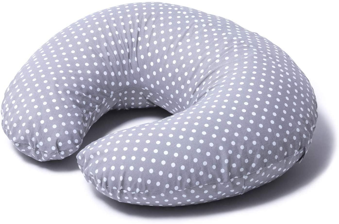 Niimo Cojin Lactancia Bebè Funda Cojin 100% Algodòn,Extraíble y Lavable Almohada Multifuncional para Madre y Bebé Relleno de Fibra de Poliéster (Gris-Lunares Blancos)