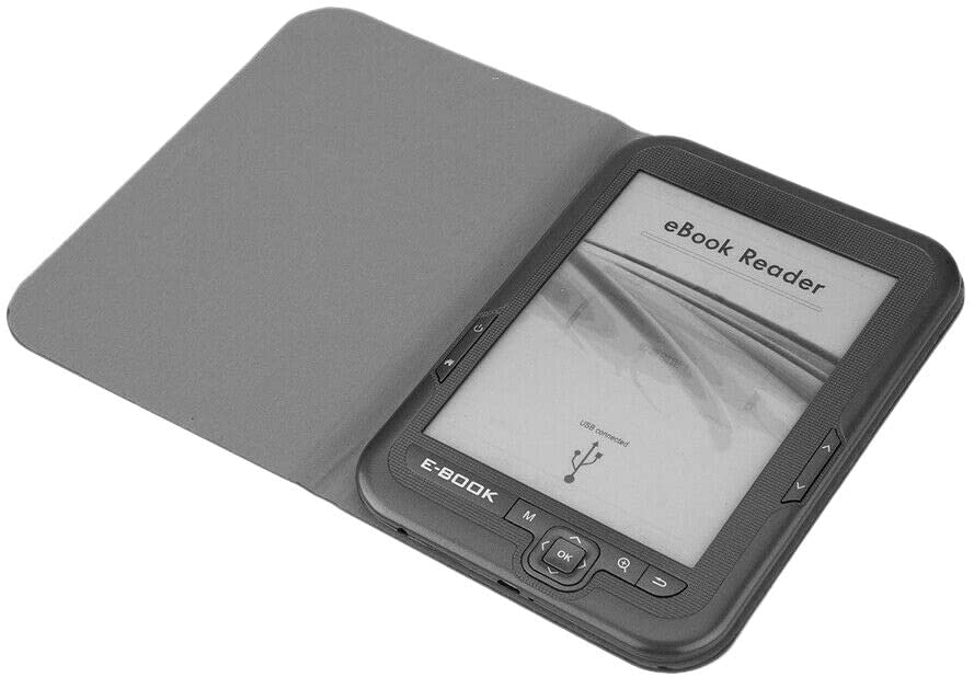 Nrpfell Lector de Ebook de 6 Pulgadas y 4 GB E-Ink Capacitiva e Book Luz Eink Pantalla E-Book E-Ink E-Reader MP3 con Estuche, WMA PDF HTML
