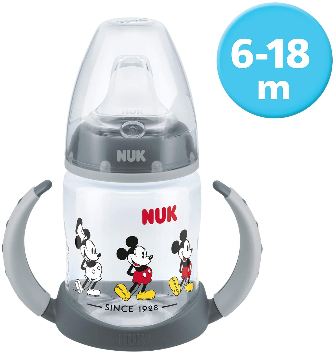NUK 10215269Disney Mickey Mouse First Choice Biberón, sin BPA, a partir de 6meses, 150ml, gris, Gris