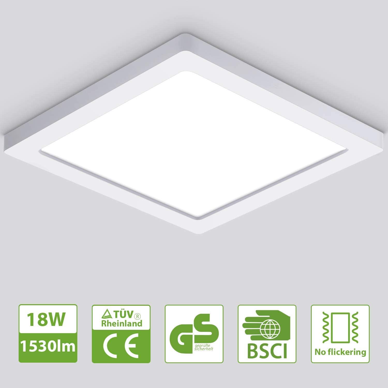 Oeegoo 18W Led Lámpara de techo Cuadrado, 1530lm Plafón Led luz de techo ultra delgado1.3cm, para Dormitorio Cocina Sala de estar Comedor Balcón Pasillo Blanco Natural 4000K [Clase de eficiencia energética A+]