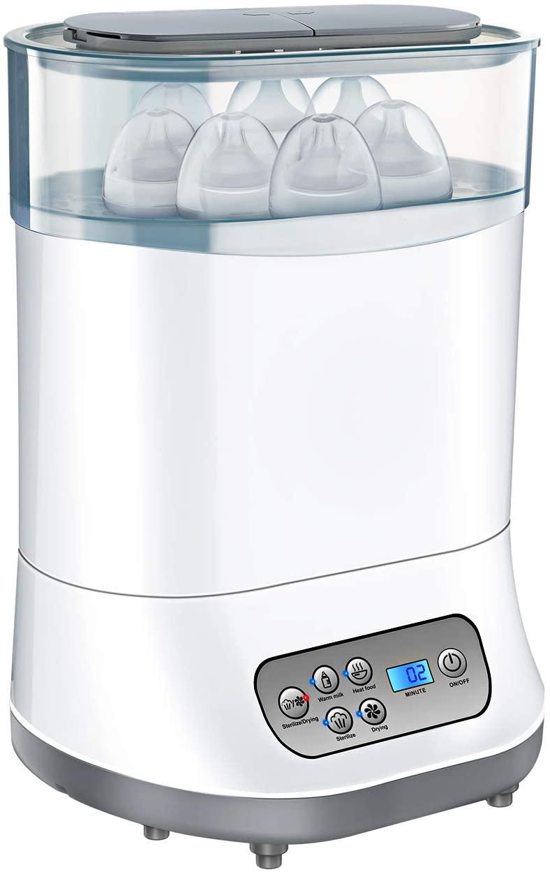 OMORC Esterilizador de Biberones, 5 en 1 Desinfecta/Seca hasta 6 biberones o Chupetes, Productos para Bebés, BPA-FREE, Calienta Biberones