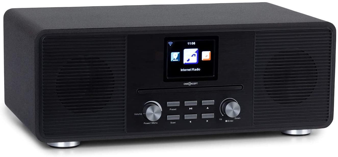 """OneConcept Streamo CD Radio Internet - recepción de Radio a través de WLAN, Dab/Dab+ y FM, 2 x 10 W RMS, Bluetooth, Reproductor de CD, AUX, Auriculares, Pantalla HCC de 2,8"""", Mando a Distancia, Negro"""