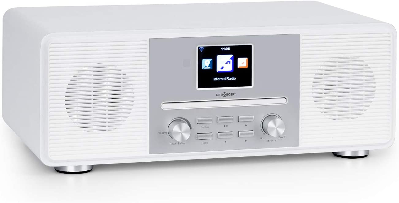 """OneConcept Streamo CD Radio Internet - recepción de Radio WLAN, Dab/Dab+ y FM, 2 x 10 W RMS, Bluetooth, Reproductor de CD, AUX-IN, Auriculares, Pantalla HCC de 2,8"""", Mando a Distancia, Blanco"""