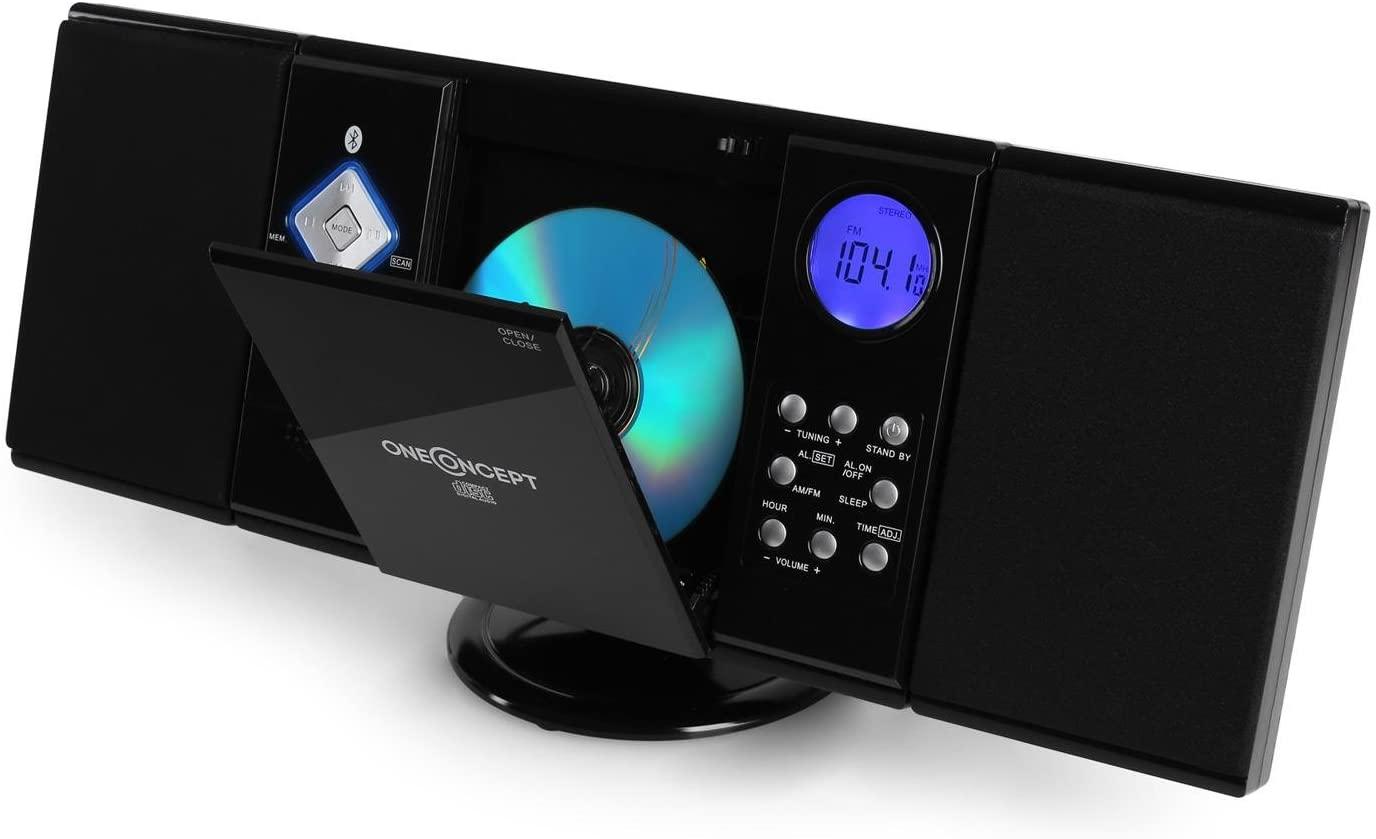 oneConcept V-12-BT - Minicadena , Equipo de música , Altavoces estéreo , Reproduce CD MP3 , Bluetooth , Sintonizador de Radio , Puerto USB , Entrada AUX , Control Remoto , Montable en Pared , Negro