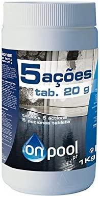 Onpool - Cloro 5 Acciones 1 Kg en Pastillas de 20 g para Piscina-SPA - su Forma de disolución Permite un Efecto desinfectante, antialgas, clarificador, estabilizador de Cloro y Anti-Hongos