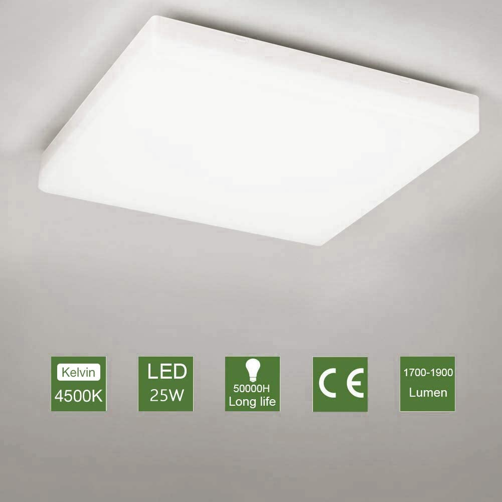 OOWOLF Led Lanpara De Techo, 25W Plafón LED Luz De Techo Impermeable Para Baño Dormitorio Cocina Balcón Pasillo Sala de Estar Comedor 1900 lm, 4500K, 30x30cm [Clase de eficiencia energética A+++]