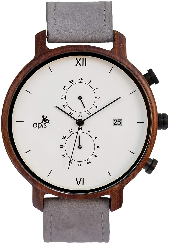 Opis UR-M2: Elegante cronógrafo de Cuatro cuadrantes en Madera para Hombres, Metal y Cuero/Reloj de Madera multifunción para Caballero (Sándalo Negro y Sándalo Rojo)