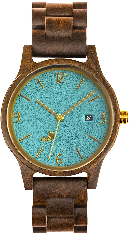 Opis UR-U1: Reloj de Madera Unisex con Esfera en Relieve (Mujer/Hombre, Doña/Caballero) de Sándalo Negro (Esfera Turquesa, Verde o Azul/Partes Metálicas Dorados o Plateados)