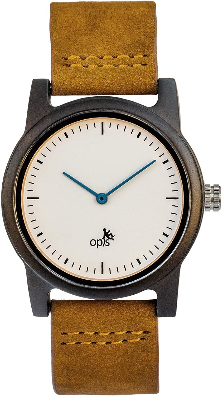 Opis UR-U2: Reloj Unisex (Mujer/Hombre - Doña/Caballero) Minimalista con Caja de Madera y Correa de Cuero (Sándalo Negro o Bambú)
