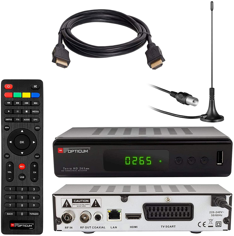 Opticum HD Terra HD 265 Plus HEVC DVB-T/T2 - Receptor y Antena de Varilla pasiva con Base magnética (Full HD 1080p HEVC/H.265 HDTV HDMI USB 2.0 SCART Coaxial-S/PDIF DVBT DVBT2 DVB-T2)