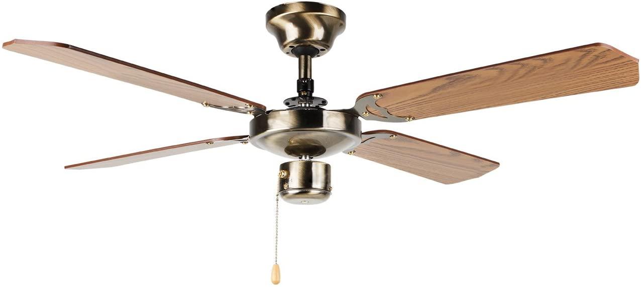 Orbegozo CF 01105 B Ventilador de techo con luz, 50 W de potencia, diámetro de 105 cm, 4 palas reversibles y 3 velocidades