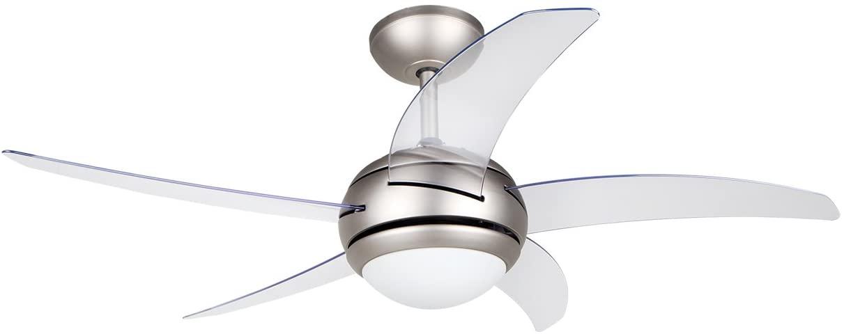 Orbegozo CP 54132 Ventilador de techo con mando a distancia, 3 velocidades 5 aspas transparentes, silencioso, 112 cm de diámetro, 55 W de potencia