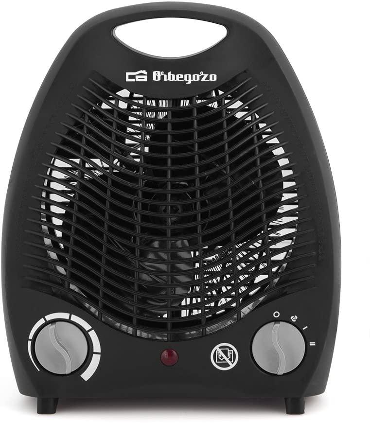 Orbegozo FH 5129 Calefactor Compacto, 2 Niveles de Potencia, 3 Modos de Funcionamiento, Termostato Regulable, Función Aire Frío, 2000 W