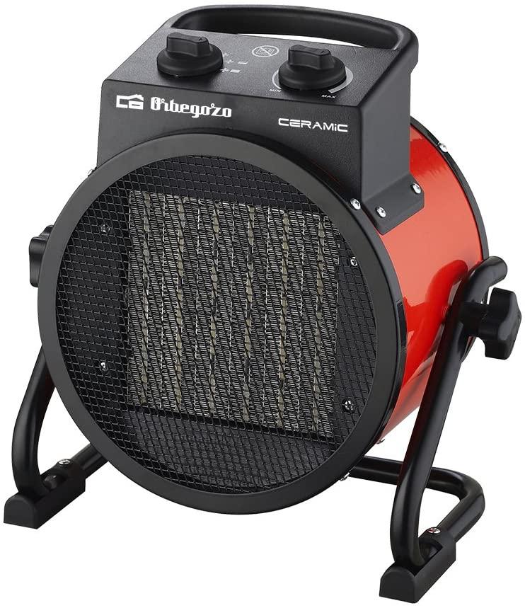 Orbegozo FHR 3050 Calefactor Cerámico Profesional con 2 Potencias de Calor, 3000 W, Negro/Rojo [Clase de eficiencia energética A+]