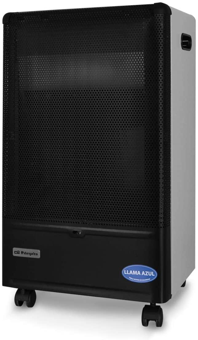 Orbegozo HBF 90 Estufa de Butano, Triple Sistema de Seguridad, Llama Azul, 4200 W, Metal, Negro/Gris [Clase de eficiencia energética A]