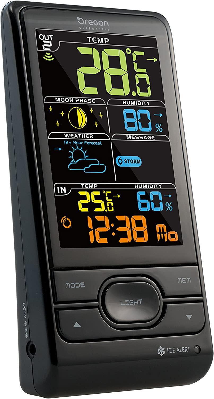 Oregon Scientific BAR208SX Estación meteorológica con temperatura interior/exterior y humedad interior/exterior, alerta hielo, fase lunar, pantalla LCD en colores, color negro