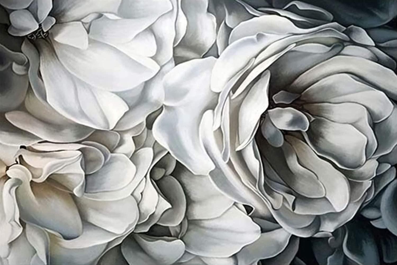 Orquídeas blancas Flores Carteles e impresiones Arte floral de la pared Pintura moderna de la lona Cuadros para la sala de estar Dormitorio Decoración del hogar 70x90cm (28x36in) Enmarcado gris