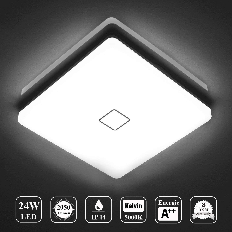 Öuesen LED 24W lámpara de techo resistente al agua moderna LED luz de techo Cuadrado delgada 2050lm Blanco frío 5000K para baño Dormitorio Cocina Sala de estar Comedor Balcón Pasillo [Clase de eficiencia energética A++]