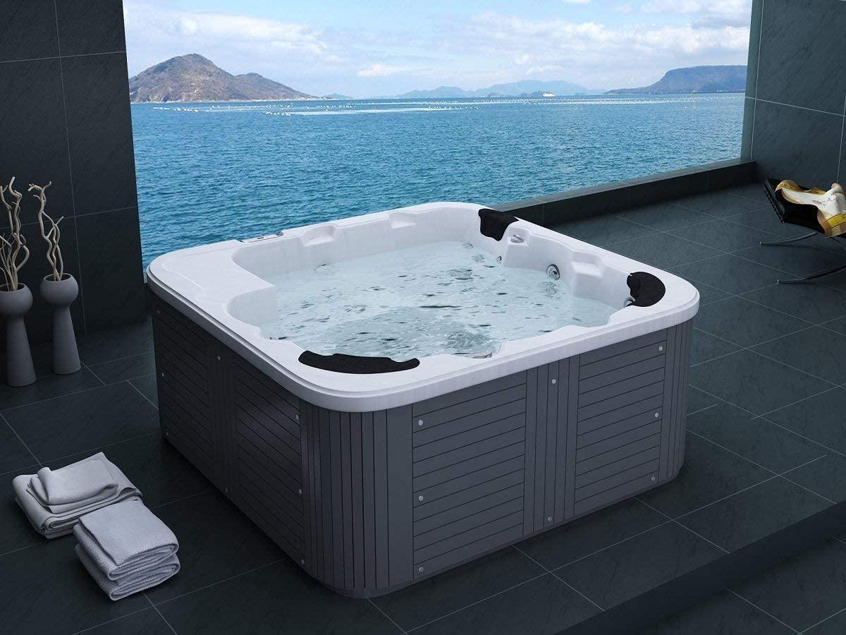 Outdoor Whirlpool Hot Tub Venedig Color Blanco con 44 Boquillas de Masaje+Calefacción+Desinfección de Ozono + Iluminación LED para 5-6 Personas para Jardín /Terraza Exterior/