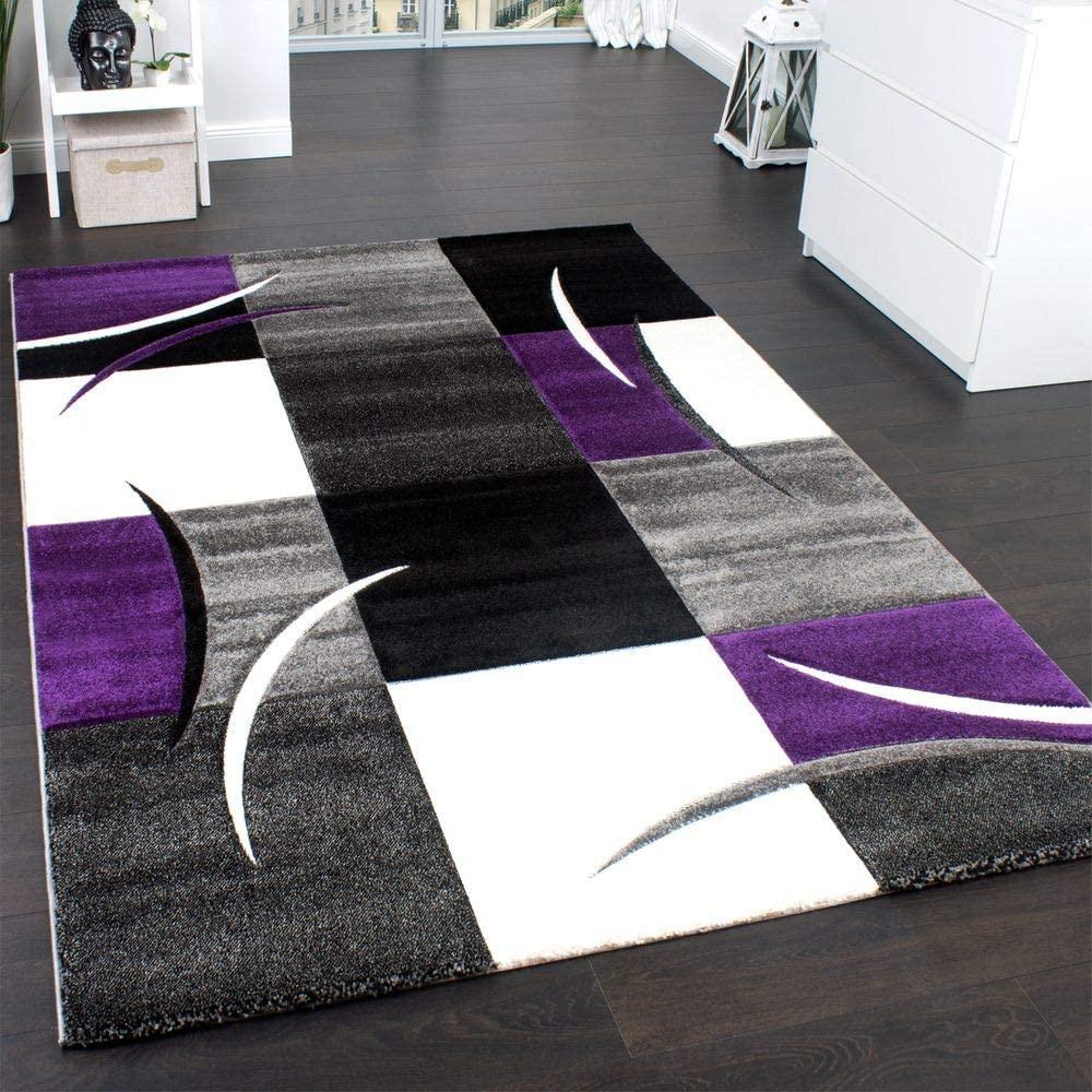 Paco Home Alfombra De Diseño Perfilado - A Cuadros En Lila Gris Negro, tamaño:60x110 cm