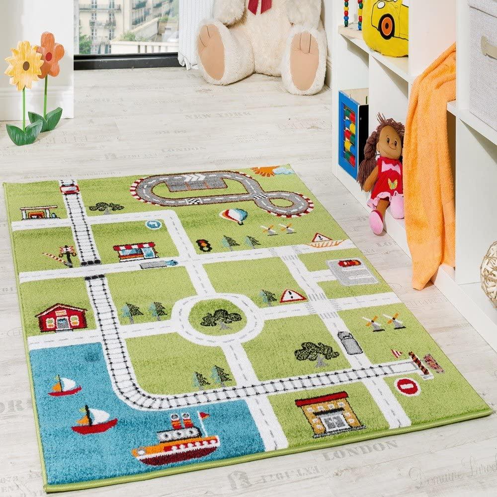 Paco Home Alfombra Infantil De Juegos De Diseño Ciudad con Puerto Y Calles En Gris Y Verde, tamaño:80x150 cm