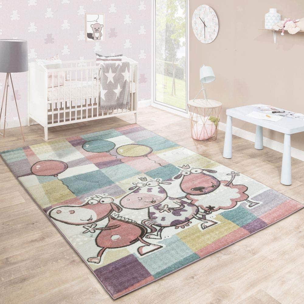 Paco Home Alfombra Infantil Juegos Colorida Animales Globos Lúdica Cuadros Multicolor, tamaño:80x150 cm
