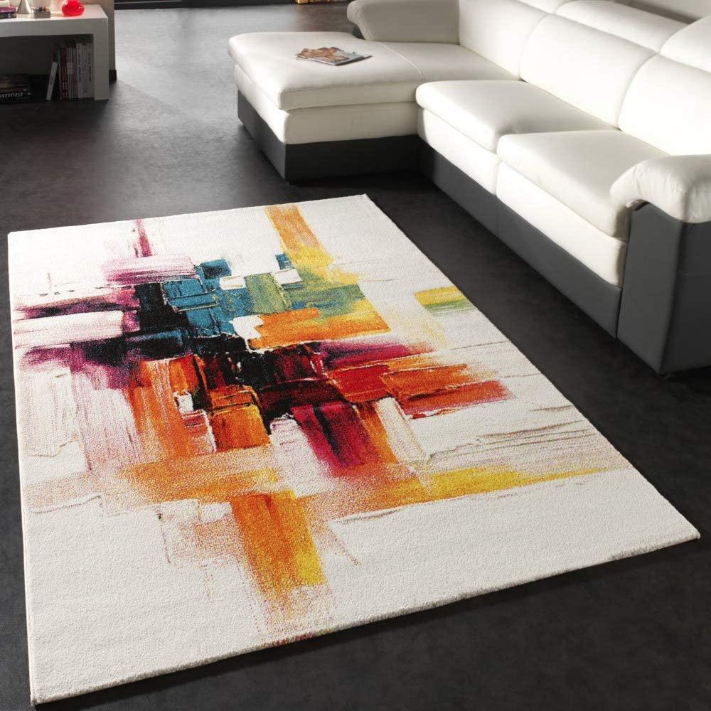 Paco Home Alfombra Moderna Splash Diseño Cepillo De Colores Novedad Embalaje Original, tamaño:120x170 cm