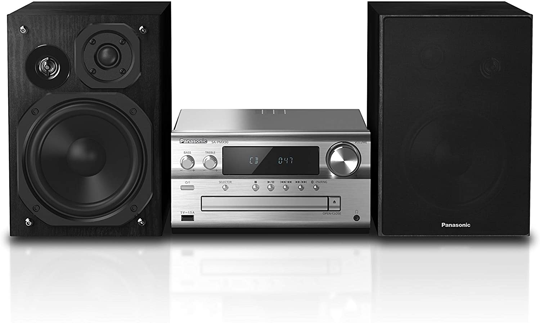 Panasonic SC-PMX90 -Microcadena Con Altavoces de Bambú- (120 W, Hi- Fi, Sonido Hogar, 14 cm Woofer, 1.9 cm Silk Dome Tweeter, 1.5 cm Piezo Twitter, Bluetooth, USB Dual, Radio FM, AUX 3.5 mm)- Plata
