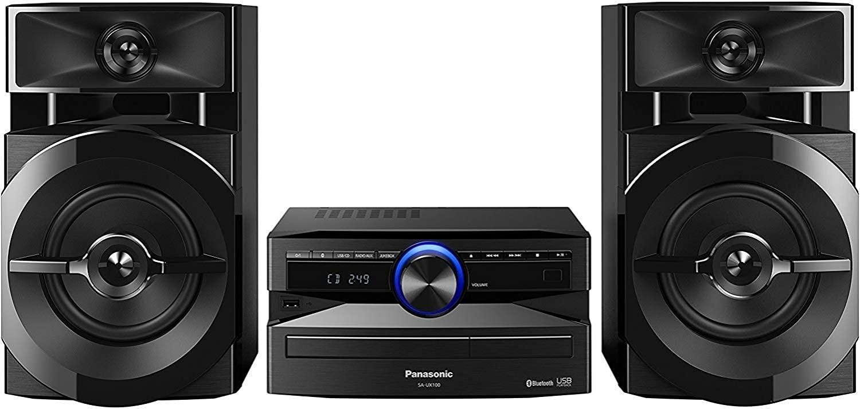 Panasonic SCUX100EK Home Audio Mini System Microcadena (Home Audio Mini System, USB, Bluetooth, Acabado Mate, Estereo, MAX JukeBox, 300 W, De 2 Vías, 13 cm, DJ, Subwoofers De 13 cm) Color Negro