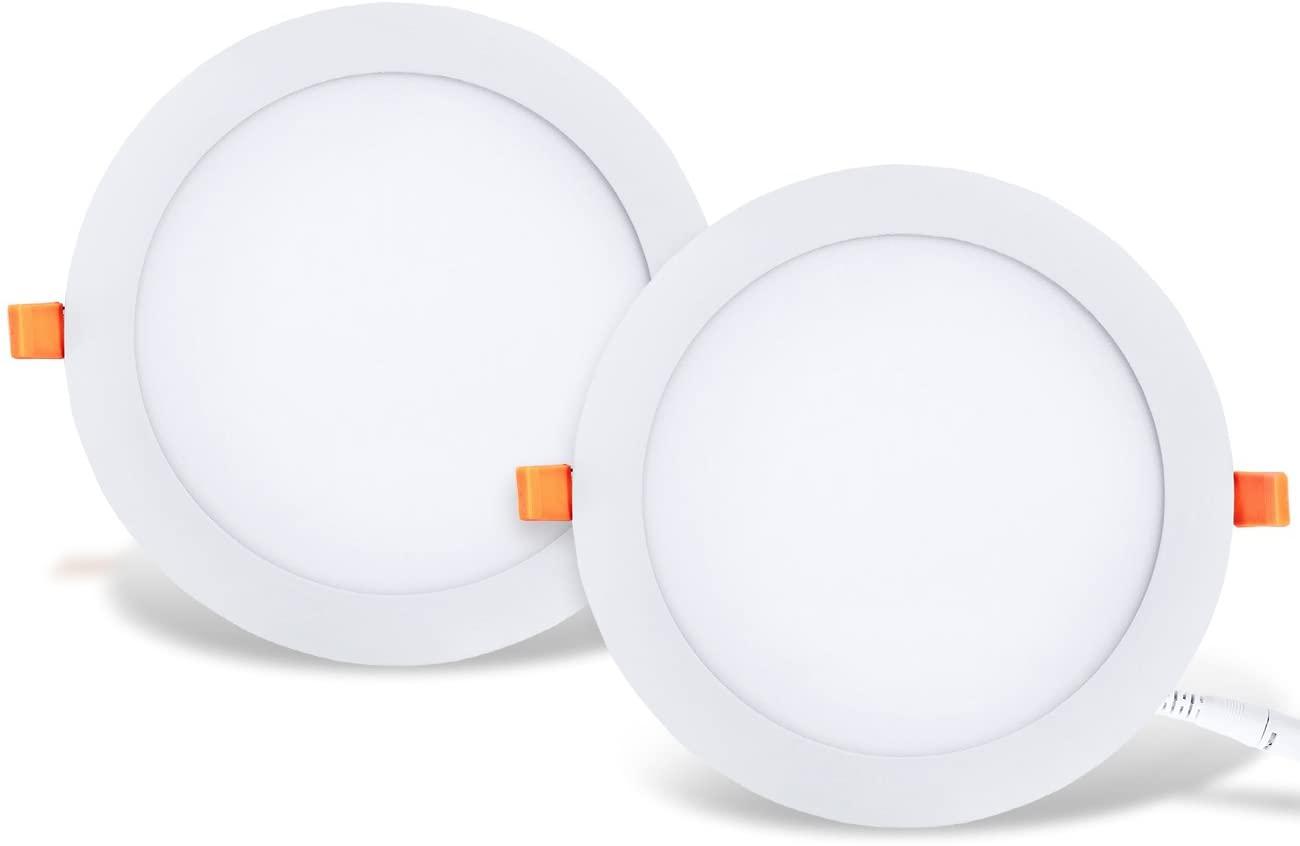 Panel LED redondo de techo LVWIT 2x: 25W equivalente a 150W, luz de techo LED empotrada para oficina, 2250 lúmenes, color blanco neutro 4000K. 225 x 21 mm - Paquete de 2 piezas